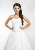 Happy beautiful bride white background up cloth Stock Photos