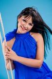 Happy beautiful brunette girl in stduio Royalty Free Stock Image