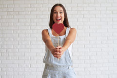 Happy beautiful brunette holding red paper heart in front of her Stock Images