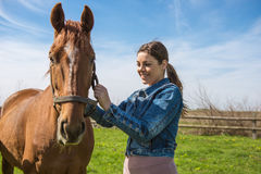 Happy beautiful brunette taking care of her brown horse. Happy beautiful brunette taking care of her domestic horse outdoors. Selective focus on the horse royalty free stock image