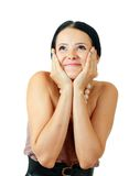 Happy beautiful brunette thrilled Royalty Free Stock Photo