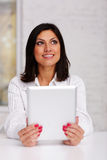 Happy beautiful businesswoman holding tablet computer Stock Photos