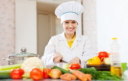 Cook prepares vegetables Stock Photography