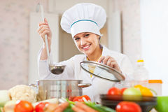 Happy beautiful cook works with ladle Stock Image
