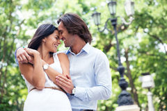 Happy beautiful couple having fun outdoors Royalty Free Stock Photo