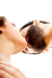 Happy beautiful couple kissing. Happy shirtless beautiful couple kissing Stock Image