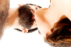Happy beautiful couple kissing. Happy shirtless beautiful couple kissing Royalty Free Stock Photography