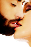 Happy beautiful couple kissing. Happy young beautiful couple kissing Stock Image