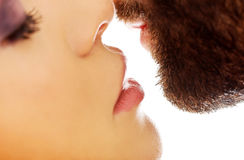 Happy beautiful couple kissing. Happy young beautiful couple kissing Stock Photos