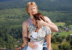 Happy beautiful couple in love. At outdoor location royalty free stock photos