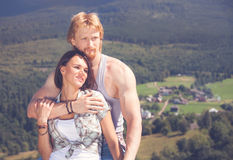 Happy beautiful couple in love. At outdoor location Royalty Free Stock Images