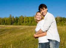 Happy beautiful couple on nature Royalty Free Stock Photo