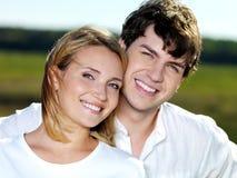 Happy beautiful couple on nature Stock Photo