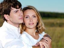 Happy beautiful couple on nature royalty free stock photos