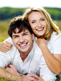 Happy beautiful couple outdoors Royalty Free Stock Photos