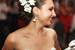 Happy beautiful exotic smilng bride at wedding Royalty Free Stock Images