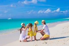 Happy beautiful family on caribbean holiday Royalty Free Stock Photos
