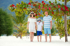 Happy beautiful family on Malibu beach during summer vacation, Koh Phangan Island, Thailand, Asia Stock Images