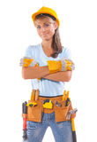 Happy beautiful female construction worker isolated on white bac Stock Image