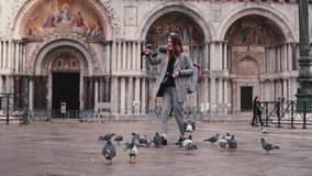 Happy beautiful female tourist with smartphone and pigeons on hand at San Marco square in Venice, Italy slow motion. Birds fly up to get on smiling girl`s arm stock video