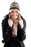 Happy beautiful female wearing winter clothes Royalty Free Stock Photos