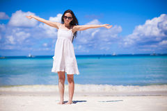 Happy beautiful girl during beach tropical. Happy beautiful woman during beach tropical vacation Royalty Free Stock Photos