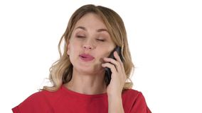 Happy beautiful girl calling by phone on white background. stock video footage