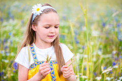 Happy and beautiful girl collects ears of wheat on a green meado Royalty Free Stock Images