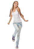 Happy beautiful girl dancing Stock Photos