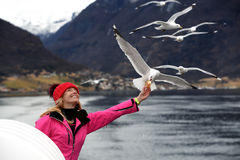 Happy beautiful girl feeding seagull in Norway Royalty Free Stock Image