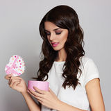 Happy beautiful girl with gift box Stock Images