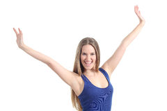 Happy beautiful girl with her arms raised. Isolated on a white background Royalty Free Stock Photo