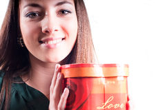 Happy Beautiful Girl with I Love You red box gift Royalty Free Stock Images