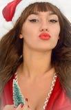 Happy and beautiful girl Santa Claus. Royalty Free Stock Photo