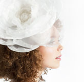Happy beautiful girl with white bow in curly hair Royalty Free Stock Photography