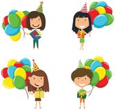 Happy beautiful girls carrying colorful wrapped gift boxes and b. Right balloons. Happy Birthday celebration. Flat style vector illustration for greeting card Royalty Free Stock Photo