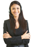 Happy beautiful hispanic business female telemarketer Stock Photos