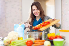 Happy beautiful housewife cooking veggie lunch Stock Image