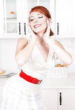 Happy beautiful housewife posing Royalty Free Stock Photos