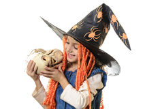 Happy beautiful little girl with Halloween pumpkin Stock Images