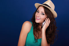 Happy beautiful makeup woman talking on mobile phone in summer h Royalty Free Stock Image