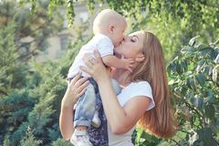 Happy beautiful mother and baby Stock Image