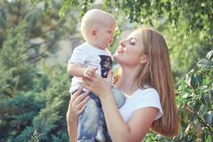 Happy beautiful mother and baby Stock Photography