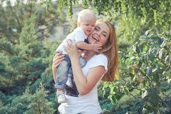 Happy beautiful mother and baby Royalty Free Stock Image