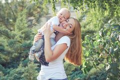 Happy beautiful mother and baby Royalty Free Stock Photo