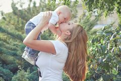 Happy beautiful mother and baby Royalty Free Stock Photos
