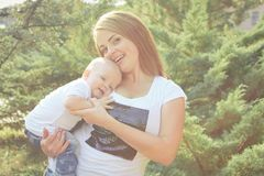 Happy beautiful mother and baby Stock Photo