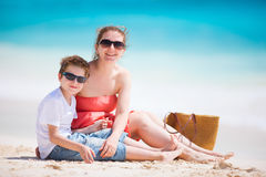 Mother and son at beach Stock Photo