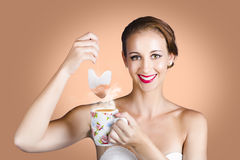 Happy Beautiful Pin Up Girl Drinking Tea Or Coffee Royalty Free Stock Photo