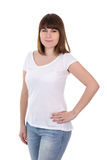 Happy beautiful plus size woman in blank white t-shirt posing is Stock Images